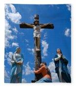 Cruficix Statue At Saint Alphonsus Church Wexford Fleece Blanket
