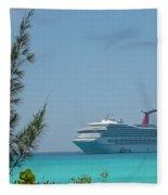 Cruise Ship At Half Moon Caye Fleece Blanket