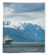 Cruise Ship In The Sognefjord In Norway Fleece Blanket