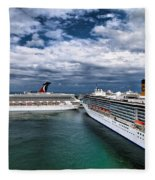 Cruise Ships Port Everglades Florida Fleece Blanket