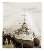 Cruiser Uss New York Going Into Dry Dock San Francisco Circa 1903 Fleece Blanket
