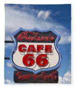 Cruisers Cafe 66 Sign Fleece Blanket