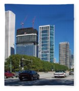 Cruising North On Lake Shore Drive In Chicago Fleece Blanket
