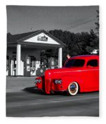 Cruising Route 66 Dwight Il Selective Coloring Digital Art Fleece Blanket