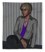 Crystal In Gray Waiting Fleece Blanket