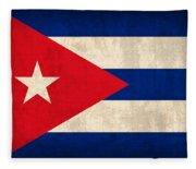 Cuba Flag Vintage Distressed Finish Fleece Blanket