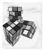 Cubed - Shades Of Grey Fleece Blanket