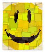 Cubism Smiley Face Fleece Blanket