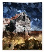 Cubist Abandoned Prairie Farm House Fleece Blanket