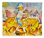 Cubist Cowboy Fleece Blanket