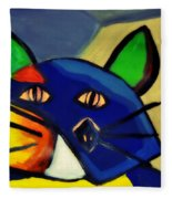 Cubist Inspired Cat  Fleece Blanket
