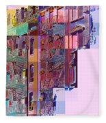 Colorful Old Buildings Of New York City - Pop-art Style Fleece Blanket