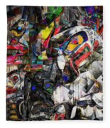 Cubist Photographic Composition Of Totem Poles Fleece Blanket