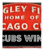 Cubs Win - Wrigley Sign Fleece Blanket