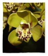 Cumbidium Orchid Fleece Blanket