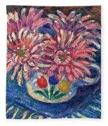 Cup Of Flowers Fleece Blanket