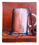 Cup Pipe And Glasses Fleece Blanket