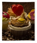 Cupcakes And Coffee Beans Fleece Blanket