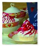 Cupcakes And Tea Je Suis Au Jardin Coffee Shop City Scene Cafe Montreal Food  Art Carole Spandau Fleece Blanket
