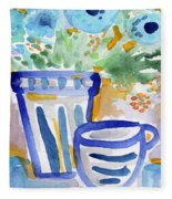 Cups And Flowers-  Watercolor Floral Painting Fleece Blanket