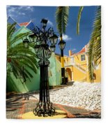 Curacao Colorful Architecture Fleece Blanket