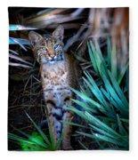 Curious Bobcat Fleece Blanket