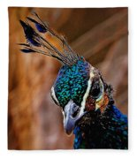 Curious Peacock Digital Art Fleece Blanket
