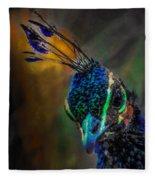 Curious Peacock  Fleece Blanket