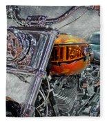 Custom Bike In Orange And Black Fleece Blanket
