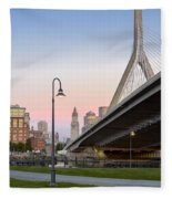 Custom House And Zakim Bridge Fleece Blanket