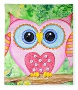 Cute As A Button Owl Fleece Blanket