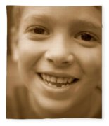 Cute Boy Smiling Fleece Blanket