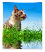 Cute Cat Outdoor Portait Fleece Blanket
