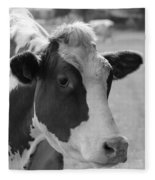Cute Cow - Black And White Fleece Blanket