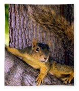 Cute Fuzzy Squirrel In Tree Near Garden Fleece Blanket