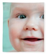 Cute Happy Baby Smiling In A Bathroom Fleece Blanket