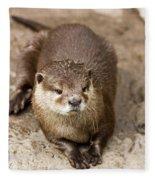 Cute Otter Portrait Fleece Blanket