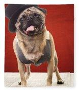 Cute Pug Dog In Vest And Top Hat Fleece Blanket