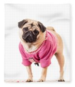 Cute Pug Wearing Sweater Fleece Blanket