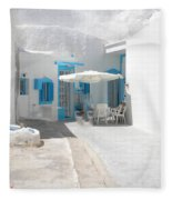 Cute Santorini Island Hause  Fleece Blanket
