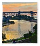 Cuyahoga River Cleveland Ohio Fleece Blanket