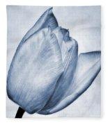 Cyanotype Tulip Fleece Blanket