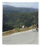Cycling In Greek Mountains Fleece Blanket