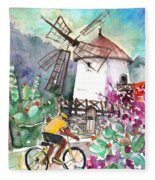 Cycling In The Mountains Of Gran Canaria Fleece Blanket