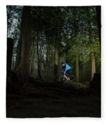Cyclist In Mountain Forest Fleece Blanket