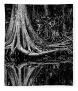 Cypress Roots - Bw Fleece Blanket