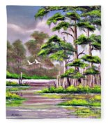 Cypress Trees-wakulla River Florida Fleece Blanket