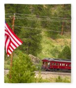 Cyrus K. Holliday Rail Car And Usa Flag Fleece Blanket