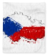 Czech Republic Painted Flag Map Fleece Blanket