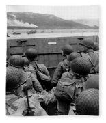 D-day Soldiers In A Higgins Boat  Fleece Blanket